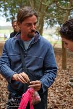 Truffle Hunter Adrian Mielke showing the veins of a perfect Black Perigord truffle to a visitor